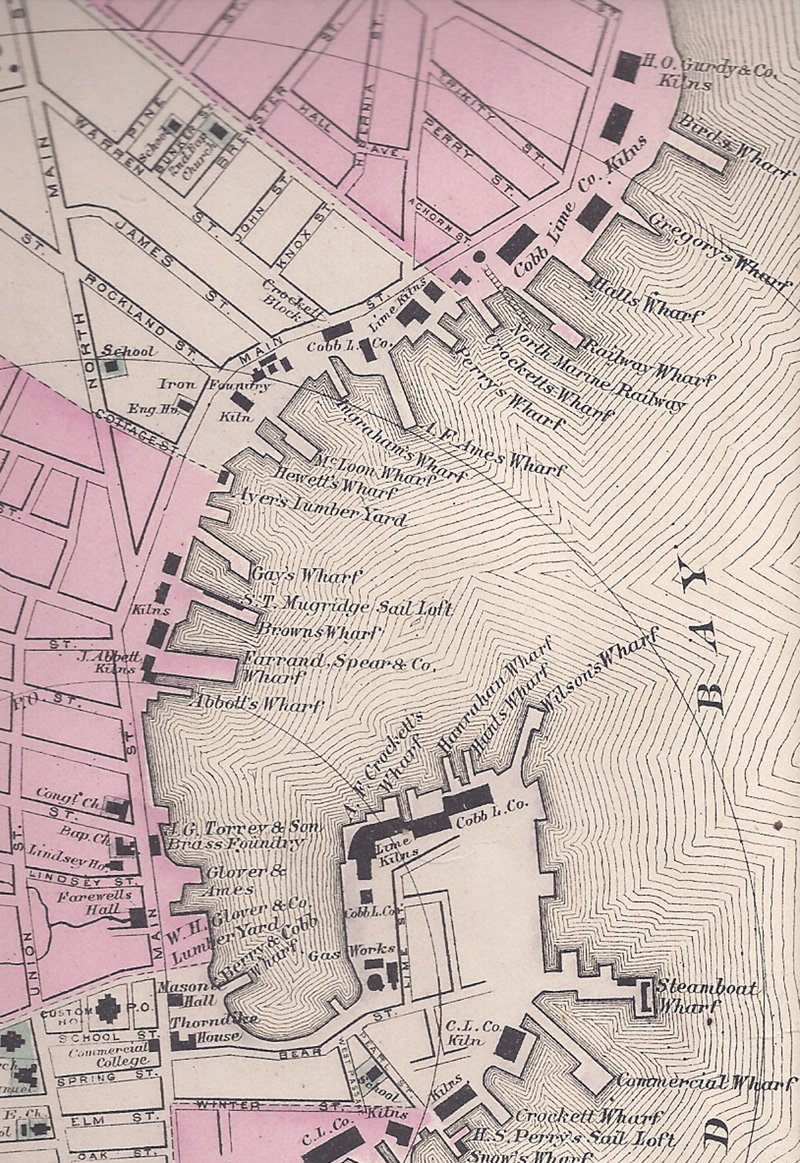 Map of Rockland Harbor before 1890
