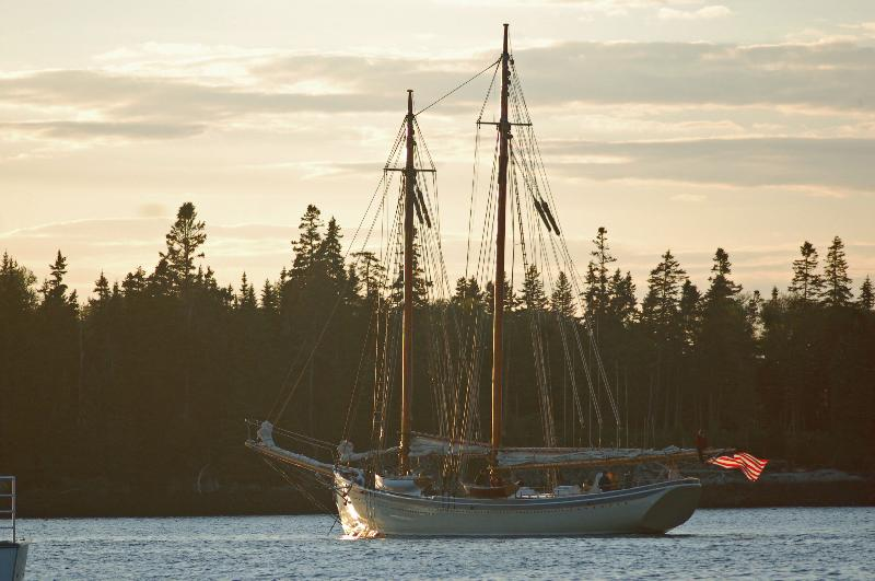 American Eagle anchored at Cape Split, Maine