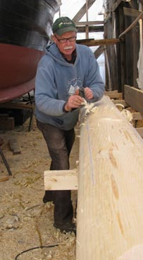 John planing the bowsprit
