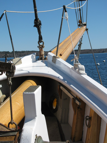 The new bowsprit finally in place