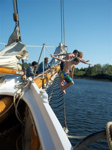 Jumping off the bowsprit!