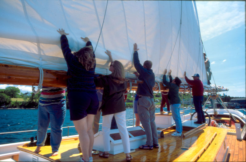 End of day furling the main sail