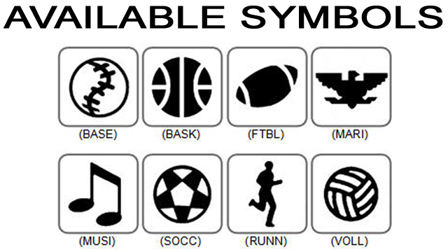 If desired, Choose from these available symbols