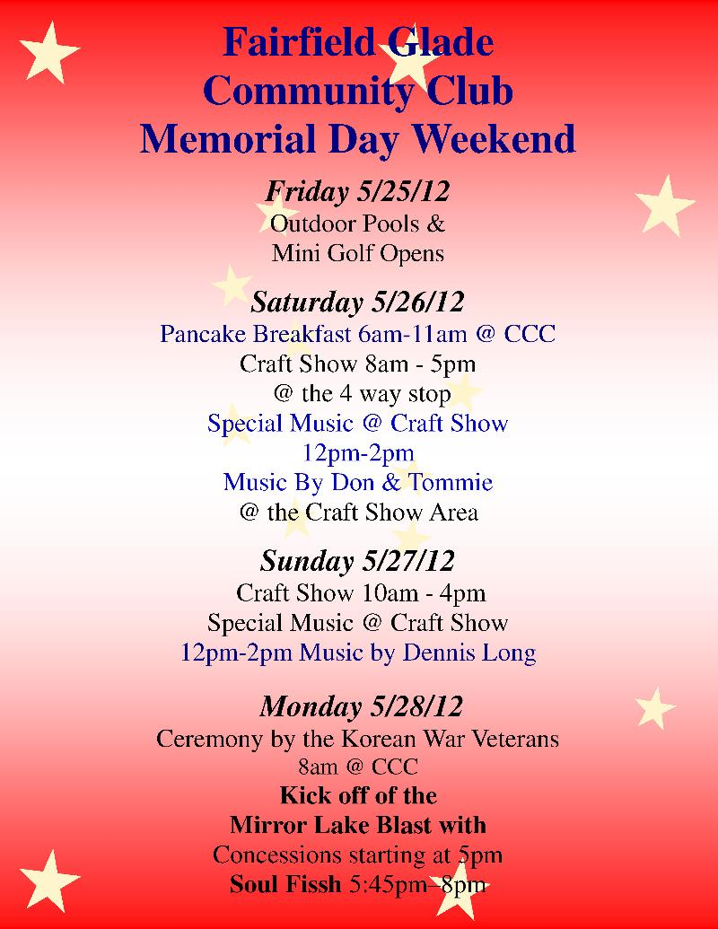 This week in fairfield glade for Memorial day weekend ideas