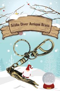 Scuba Diver Antique Brass
