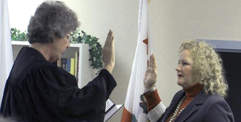 Nancy O'Malley being sworn in
