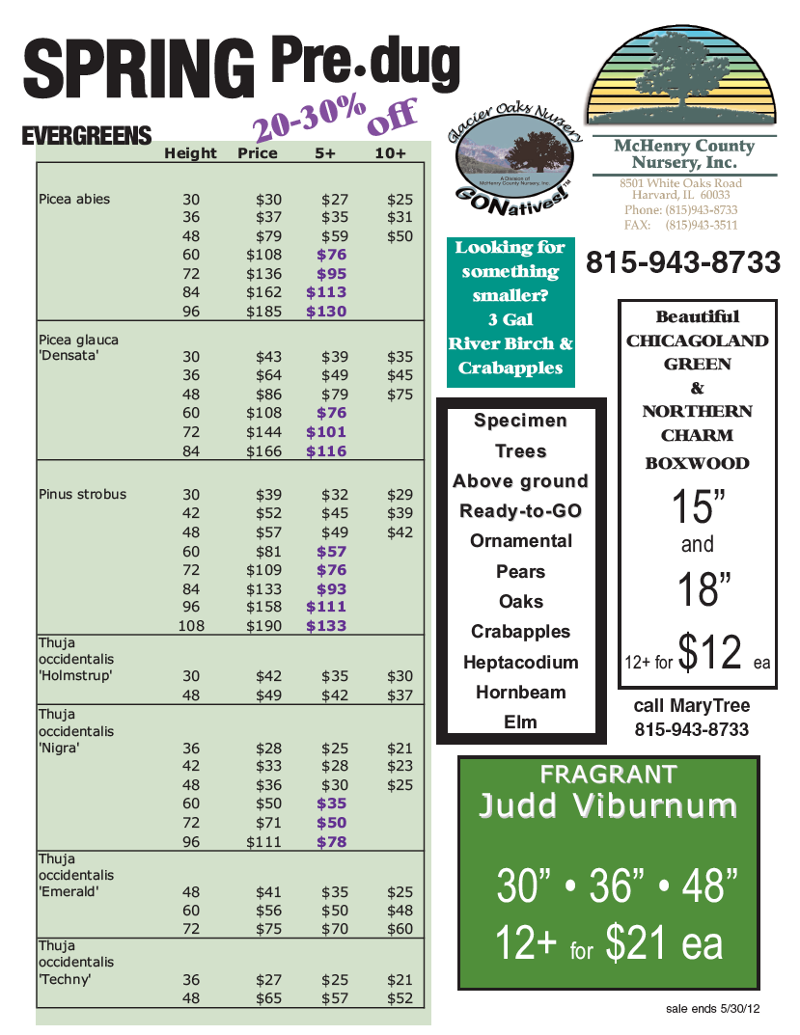 april/may yard and evergreen specials