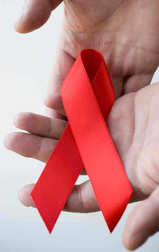 AIDS ribbon, 2 hands