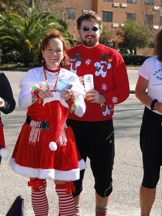 Mary Sever and son Kelly at the East Hill Hash Santa's Helper Run