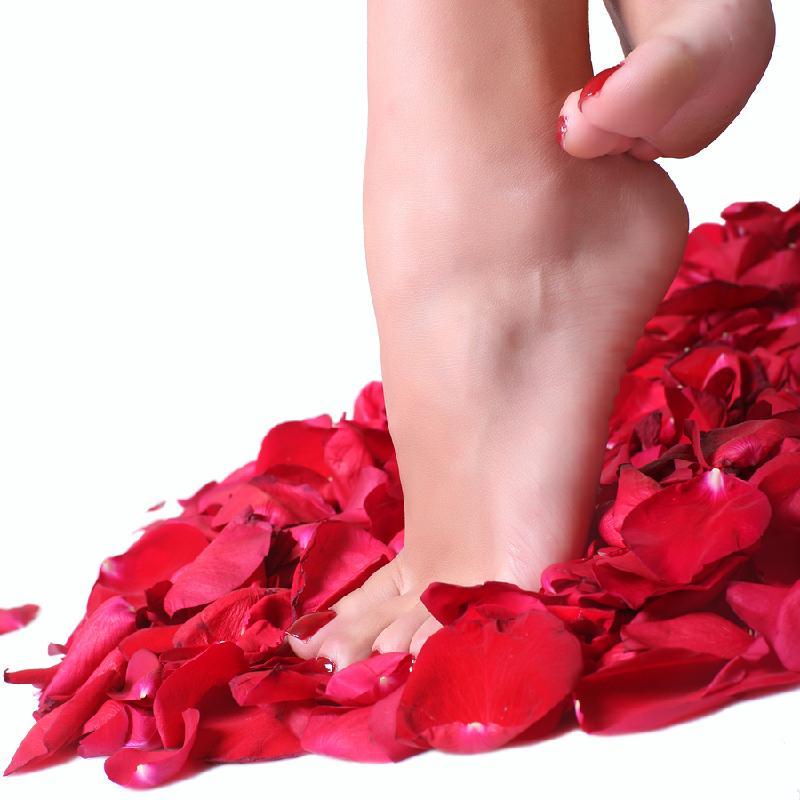 Feet in roses