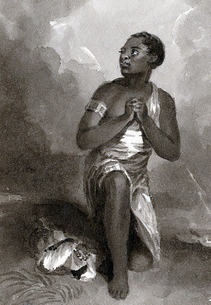 african woman kneeling in prayer