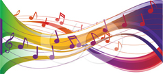 Colored musical notes