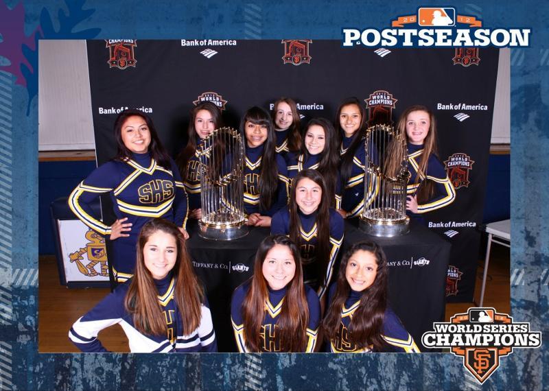 SHS cheerleaders & SF giants tropy 3/13