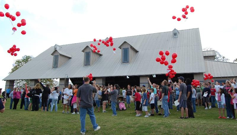 red balloon release at camp