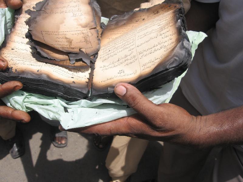 Burned Bible Pakistan