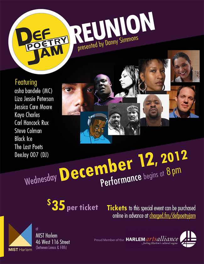 Def Poetry Jam Reunion Flyer - MIST Harlem, Wed, Dec 12, 8pm $35