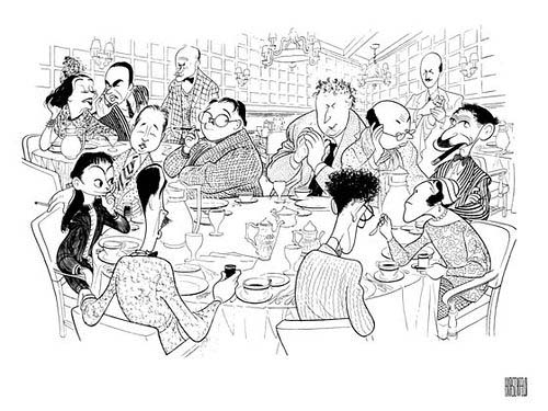 Line drawing of people talking