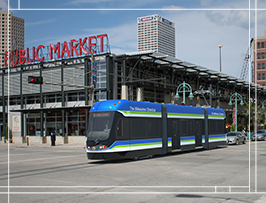 rendering of Milwaukee Streetcar in action