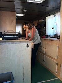 Letter press truck interior