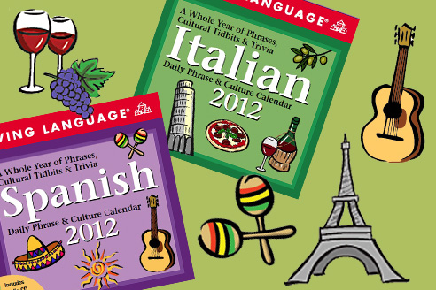 Foreign language calendars with illustrations