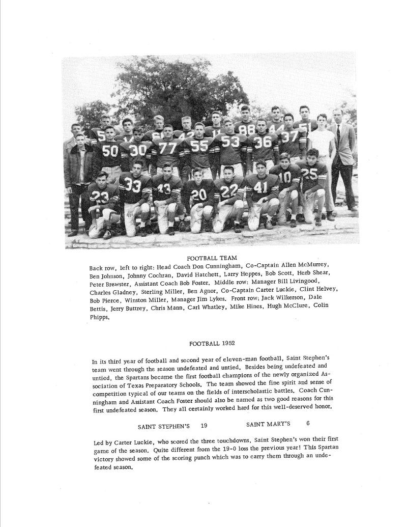 1952-53 Spartan Football Team - 1