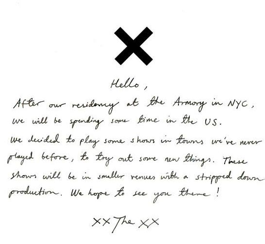 The xx Just Announced USA Tour Dates For 2014