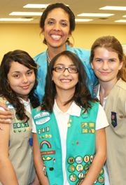 Anna Maria Chavez with Girl Scouts