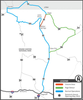 US Route Appreciation Society NewsletterUS Closure In Arizona - Us 89 utah map