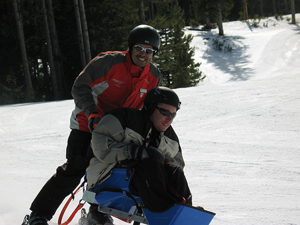 Eric begins with sit-skiing