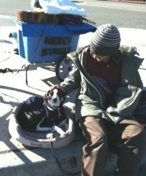 homeless with dog on pet bed