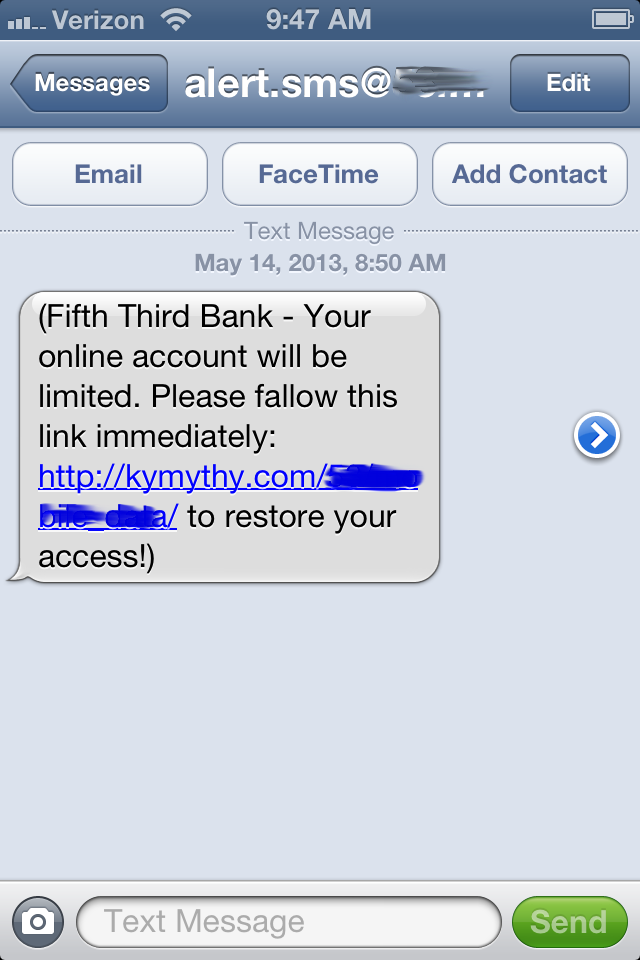 scam bank texts