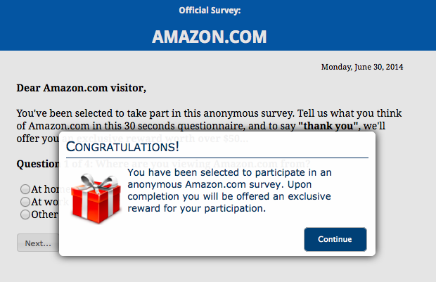 1077 Customer Survey Scam Lures Victims with Gift Card