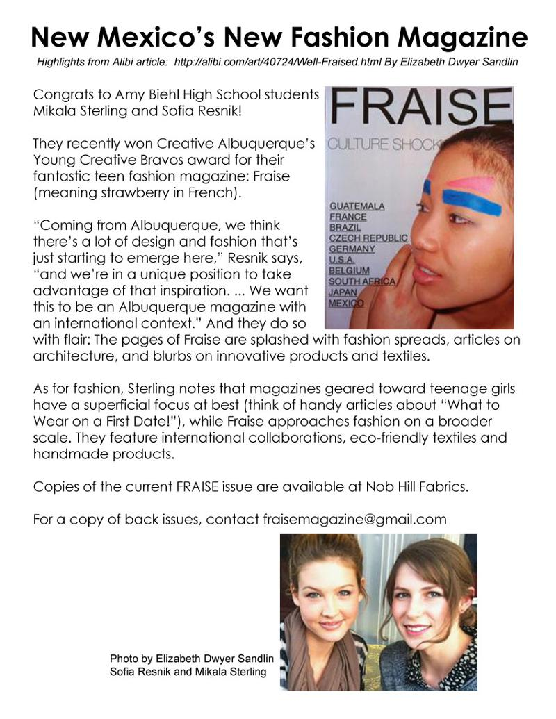 FRAISE Fashion Magazine in alabi March 2012
