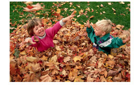 Kids playing in leaves 3
