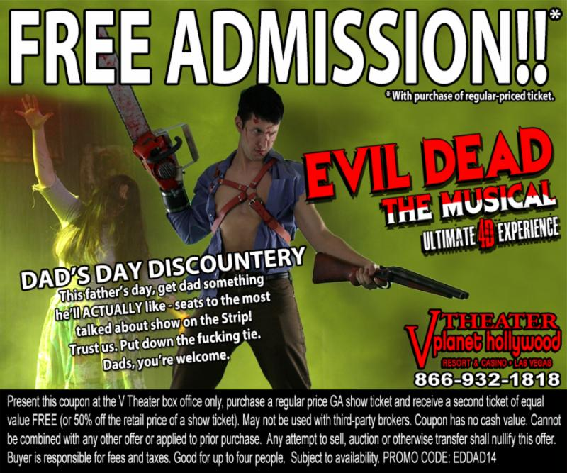 EVIL DEAD THE MUSICAL to Offer Discounts Over Father's Day Weekend