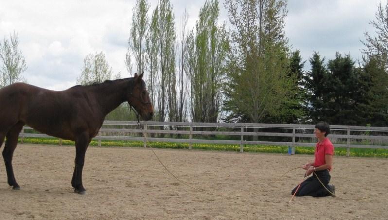 Elli looks attentively at Nita Jo kneeling, preparing for Circling Game..