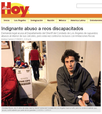 Screencapture of Hoy article 'Indignante abuso a reos discapacitados'
