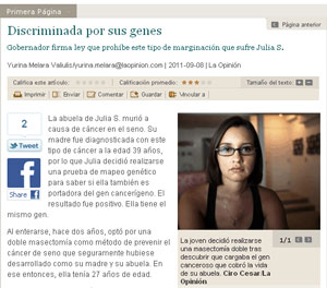 ScreenCapture of online La Opinion article