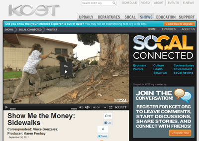 Screen Capture of Show Me the Money: Sidewalks story online