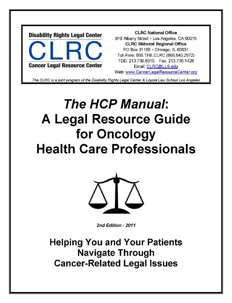 The HCP Manual: A Legal Resource Guide for Oncology