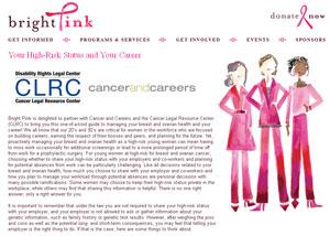 Screenshot of Bright Pink webpage