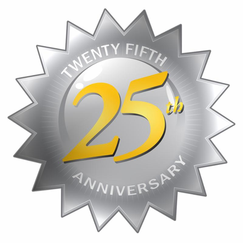 A silver twenty fifth 25th anniversary seal isolated over a white background.