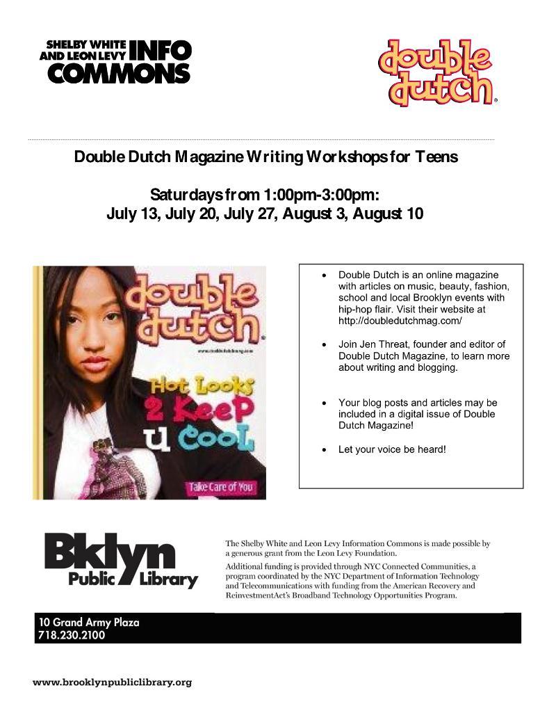 Double Dutch Magazine Writing Workshops Flyer