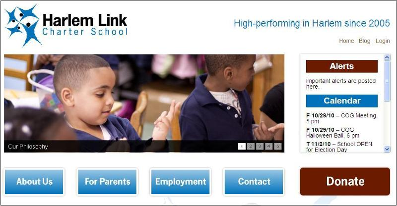 Screen shot of our new website