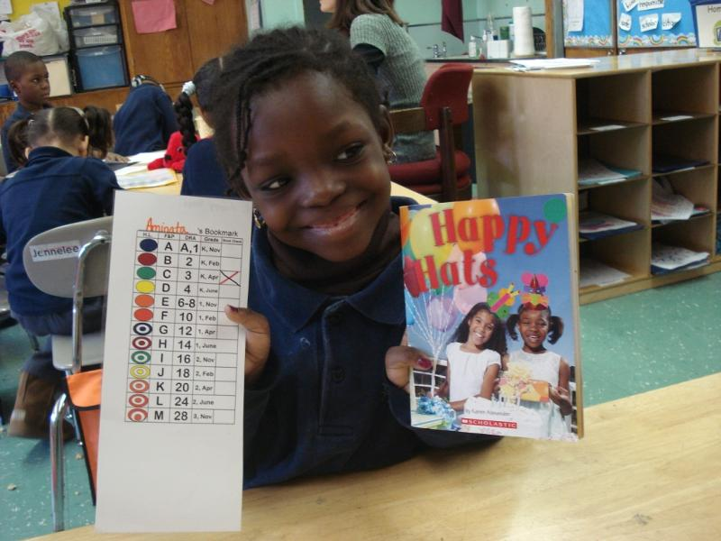 Student tracks her reading progress