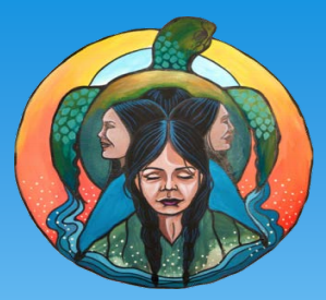 Right to Clean Water project logo features four women standing back-to-back, facing outwards, surrounded by a circle that contains a sun and a sea turtle treading water.