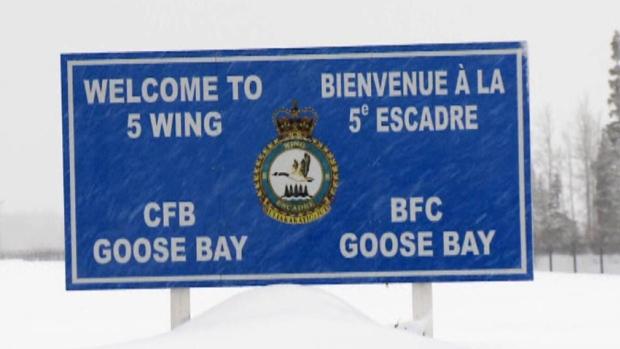 Sign marking entrance to 5 Wing Goose Bay base.
