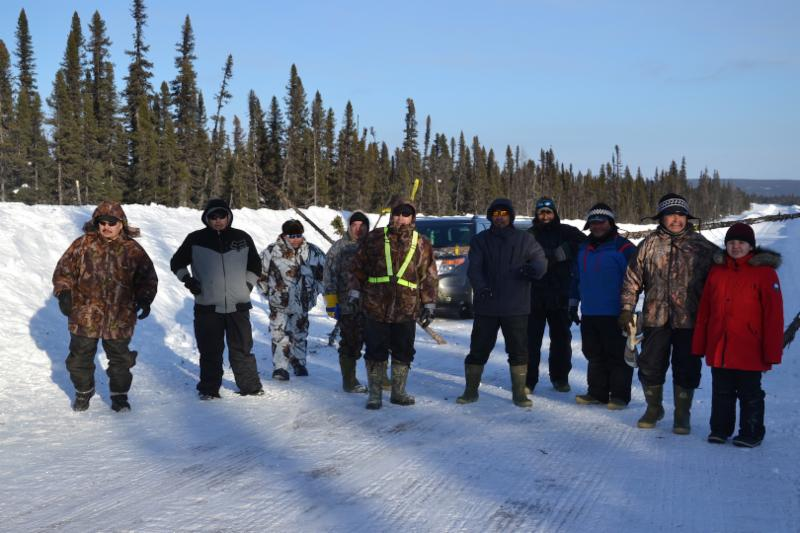 A group of Shippa Innu people form a blockade along the snow-covered Labrador highway.