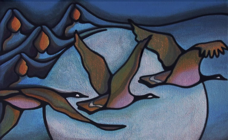 A painting of the forms of four women in the sky, melding into the moon. Three geese fly in front of the moon.