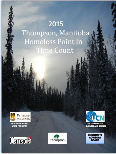 Cover of the Homeless Point in Time Count report, depicting a snow-covered road lined with fir trees.